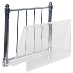 Modern Design Vintage Lucite Chrome Stand Magazine Holder Rack Hollis Jones Era