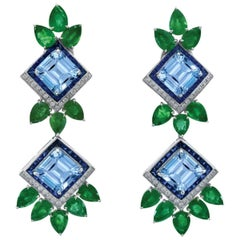 Modern Designed Pair of Platinum Aquamarine Emerald Sapphire & Diamond Earrings