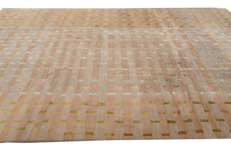 Modern Designed Tibetan Handmade Wool Rug For Sale 7