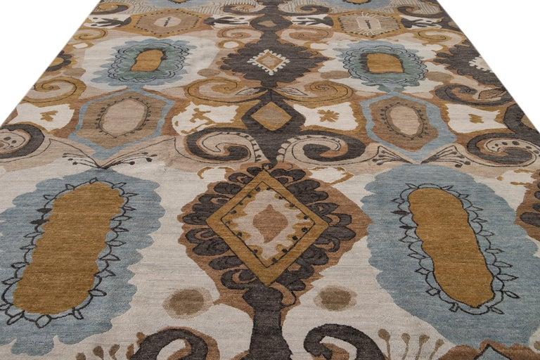 Hand-Knotted Modern Designed Tibetan Handmade Wool Rug For Sale
