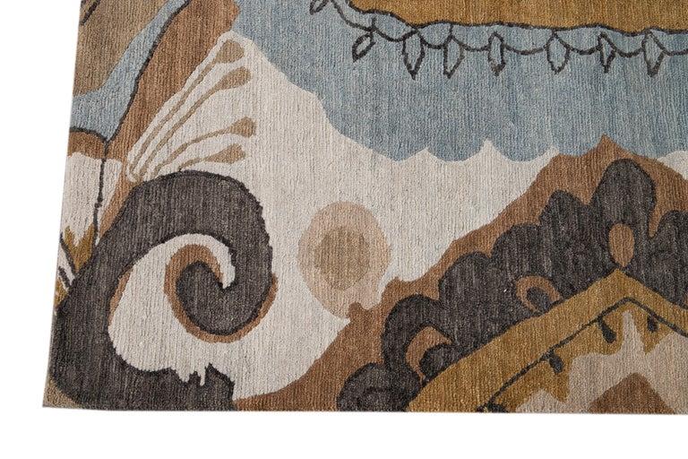 Modern Designed Tibetan Handmade Wool Rug In New Condition For Sale In Norwalk, CT