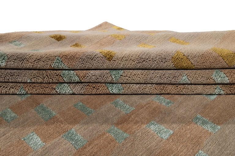Contemporary Modern Designed Tibetan Handmade Wool Rug For Sale