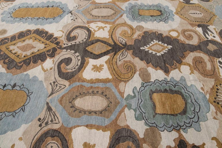 Modern Designed Tibetan Handmade Wool Rug For Sale 3