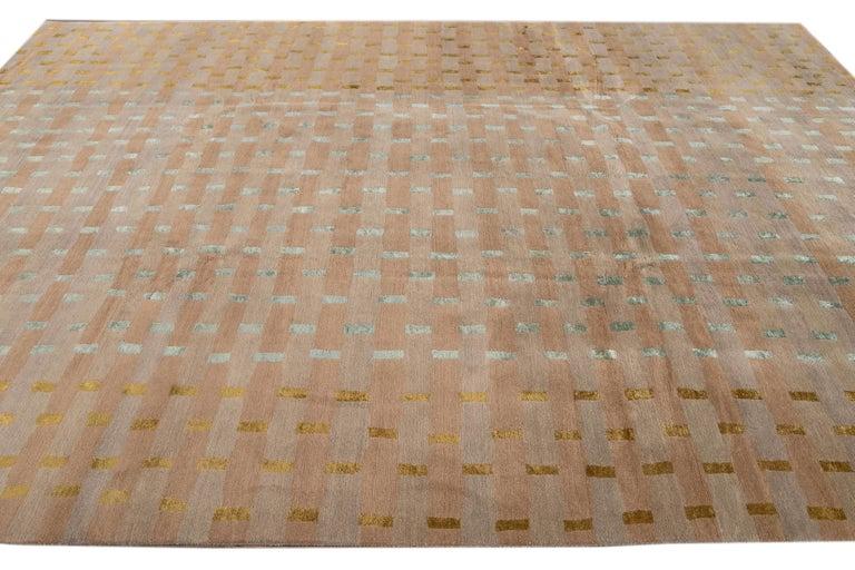 Modern Designed Tibetan Handmade Wool Rug For Sale 4