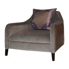 Modern Designer Handmade Club Chair Upholstered with Blue Velvet & Blue Leather