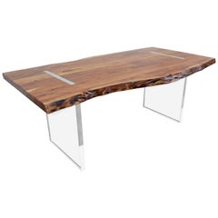 Modern Designer Studio Floating Top Acacia Slab Wood and Lucite Dining Table