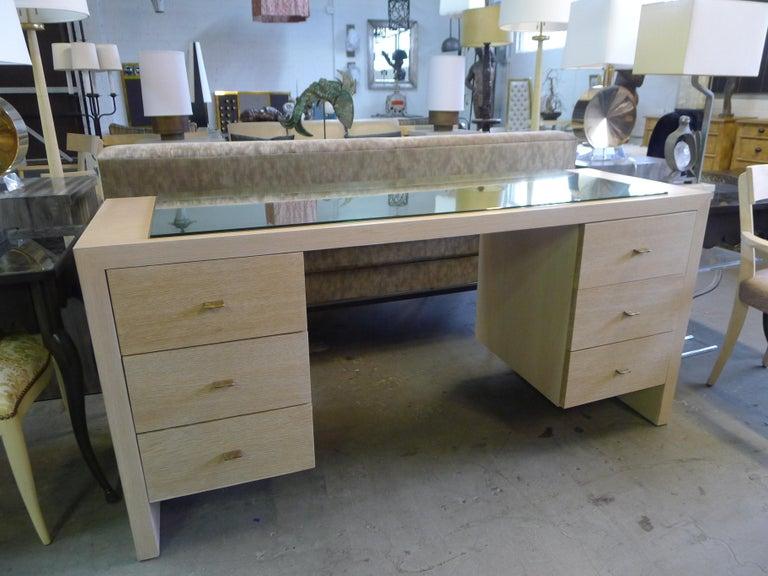 Modern Desk in Bleached Oak with Brass For Sale 5