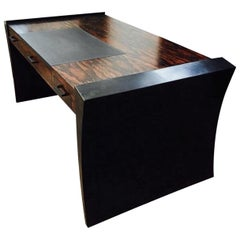 Modern Gull Wing Desk in Steel, Stone and Exotic Ebony Wood