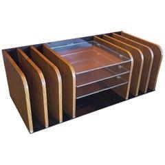 Modern Desk Organizer / Letter Tray in Teak and Lucite