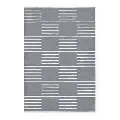 Classic Gray/Cream, Modern Dhurrie/Kilim Rug in Scandinavian Design