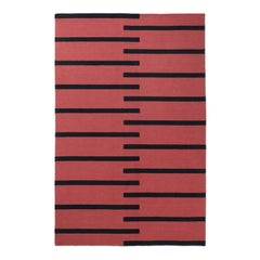Tiger Red, Modern Dhurrie Kilim Rug in Scandinavian Design