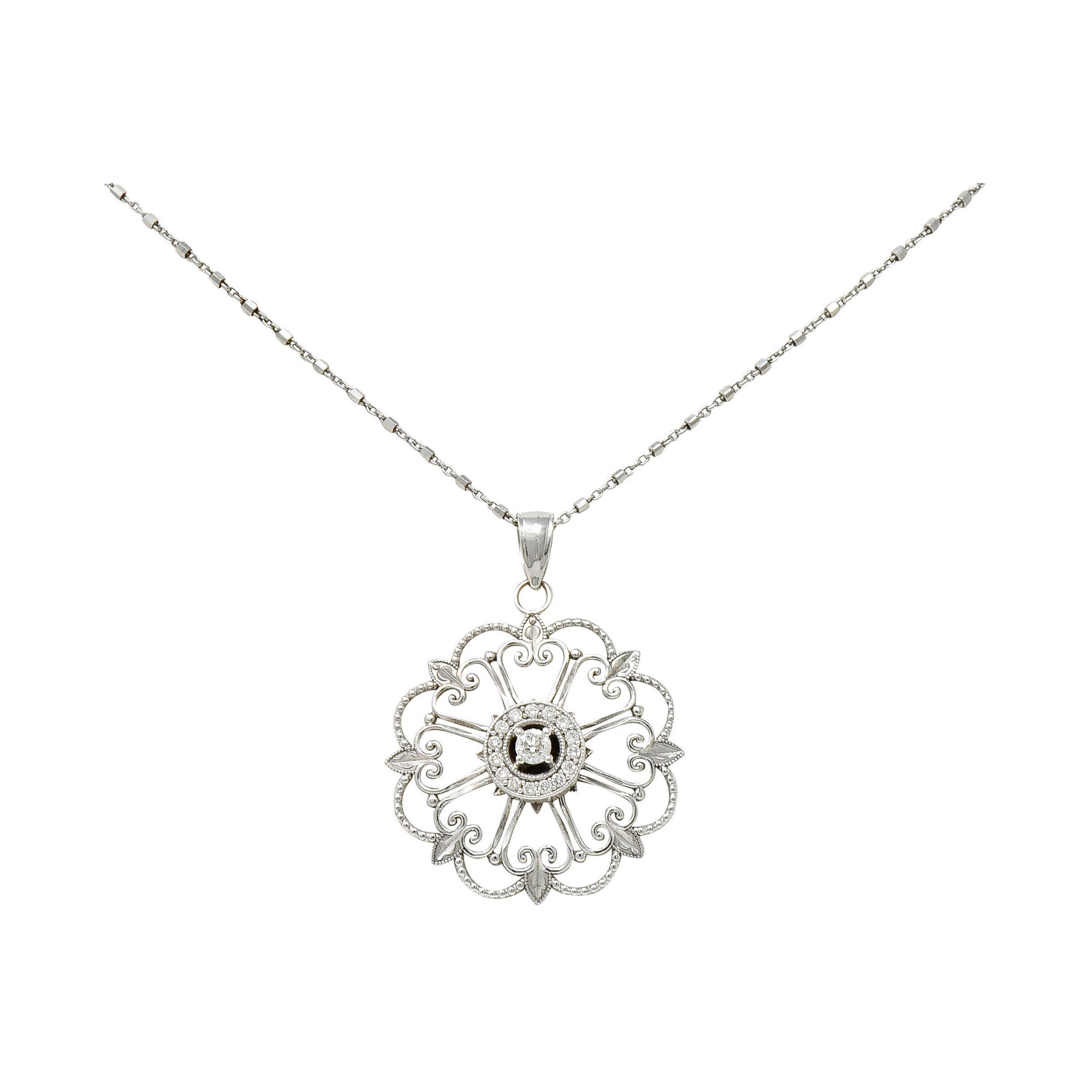 Modern Diamond 14 Karat White Gold Floral Mandala Pendant Necklace