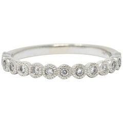 Modern Diamond 14 Karat White Gold Stacking Band Ring