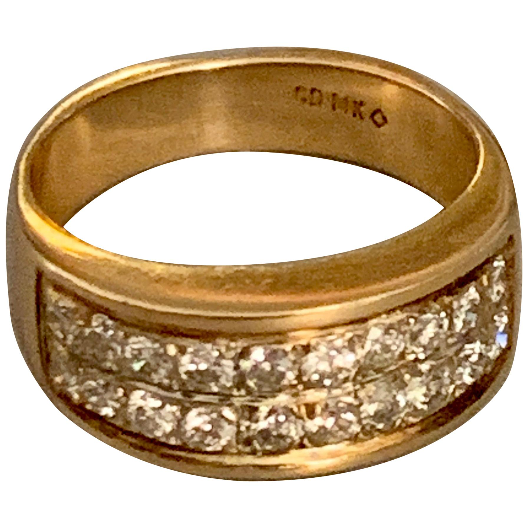 Modern Diamond 14 Karat Yellow Gold Band Ring