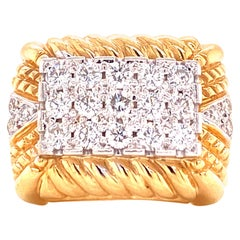 Modern Pave Diamond 14 Karat Yellow Gold Cable Right Hand Ring
