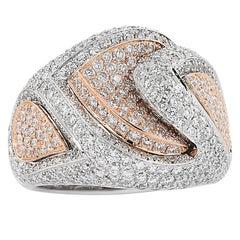 3.70 Carat Pave Diamond 18 Karat White Yellow Gold Dome Ring