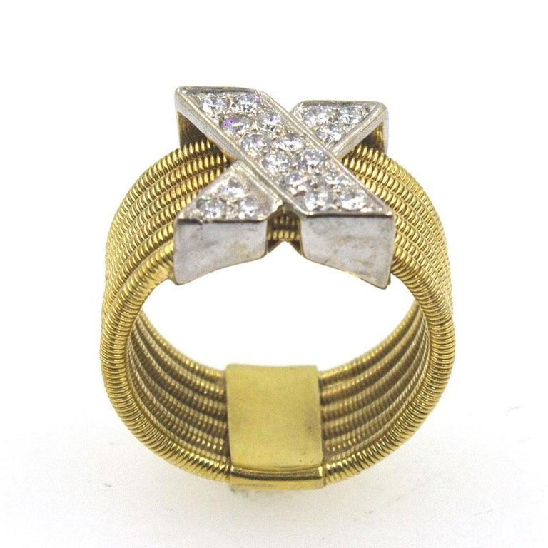 Round Cut Modern Diamond X  18 Karat Yellow Gold Wide Band Ring  For Sale