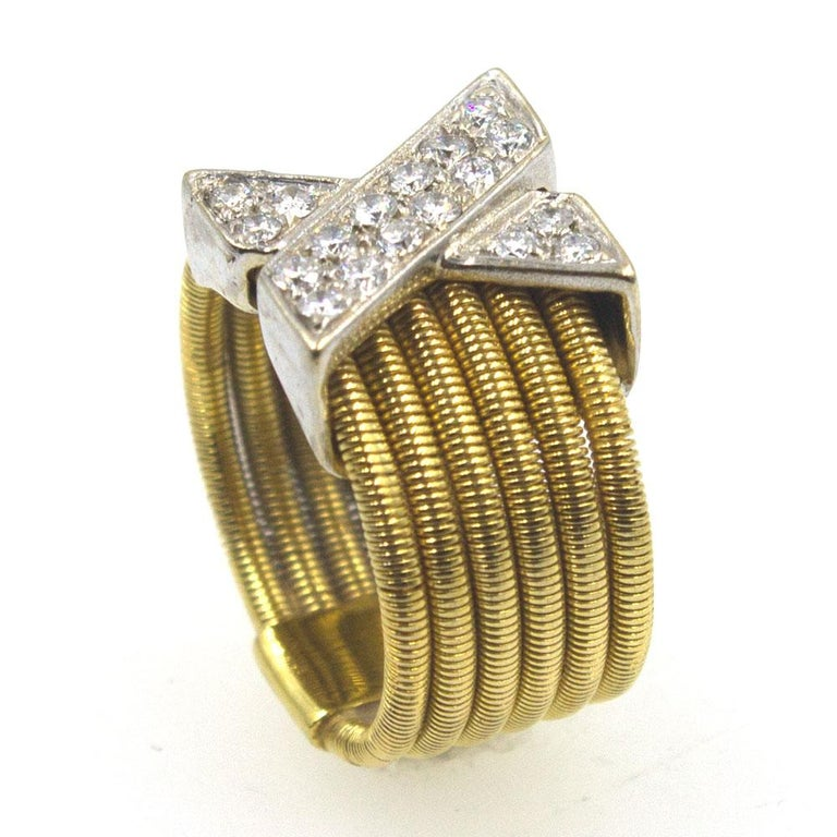 Modern Diamond X  18 Karat Yellow Gold Wide Band Ring  In Excellent Condition For Sale In Boca Raton, FL