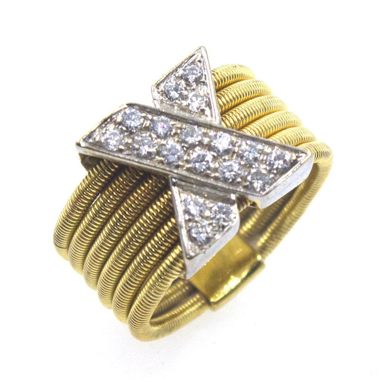 Women's Modern Diamond X  18 Karat Yellow Gold Wide Band Ring  For Sale