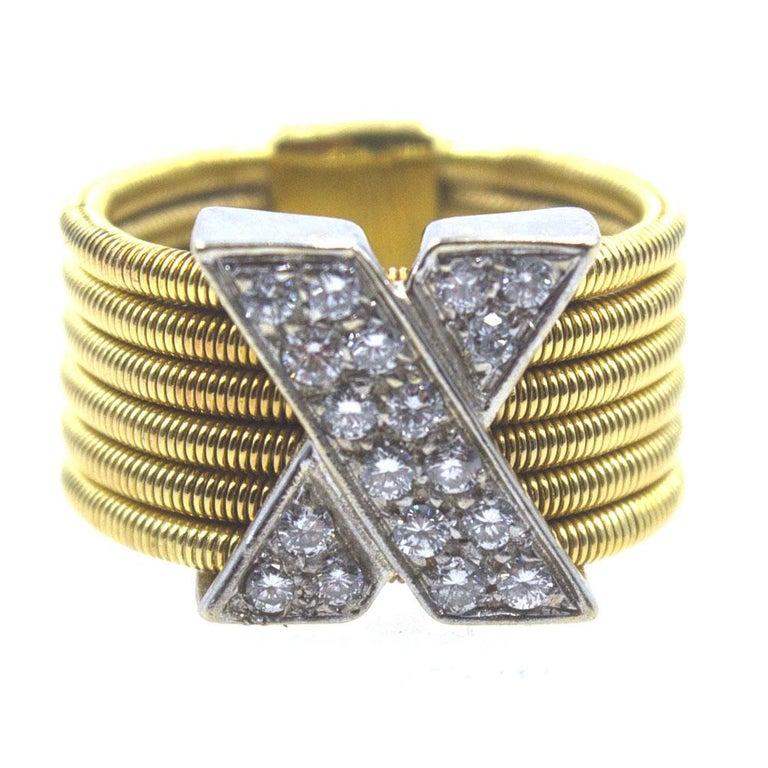 Modern Diamond X  18 Karat Yellow Gold Wide Band Ring  For Sale 1