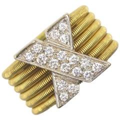 Modern Diamond X  18 Karat Yellow Gold Wide Band Ring