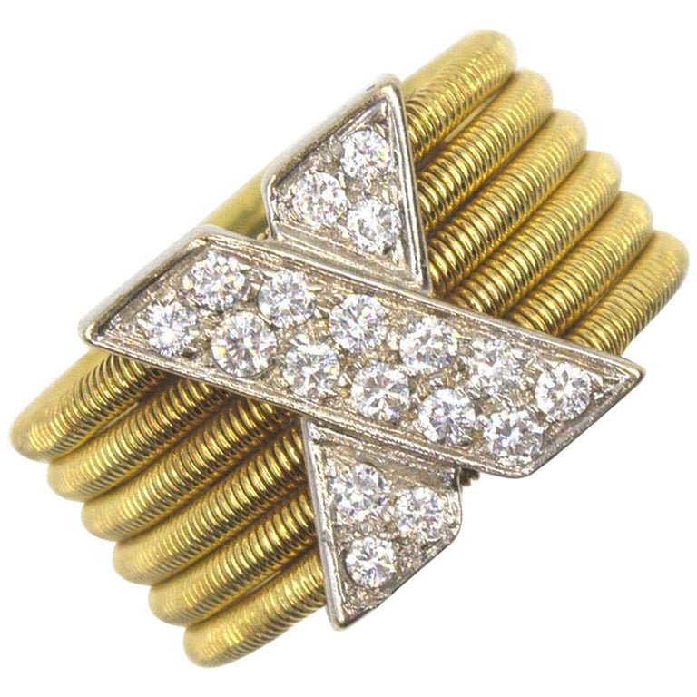 Modern Diamond X  18 Karat Yellow Gold Wide Band Ring  For Sale