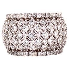 Modern Diamond 18 Karat White Gold Lattice Wide Wedding Anniversary Band