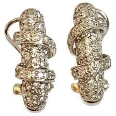 Modern Diamond 18 White Gold Omega Back Hoop Earrings