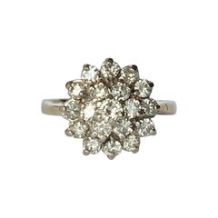 Modern Diamond and 18 Carat Gold Cluster Ring