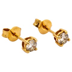 Modern Diamond and 18 Carat Gold Stud Earrings