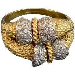 Modern Diamond and 18 Karat White and Yellow Gold Ring