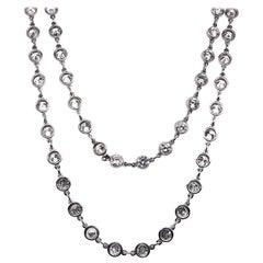 Modern Diamond and Platinum Chain Necklace, 7.77 Carat