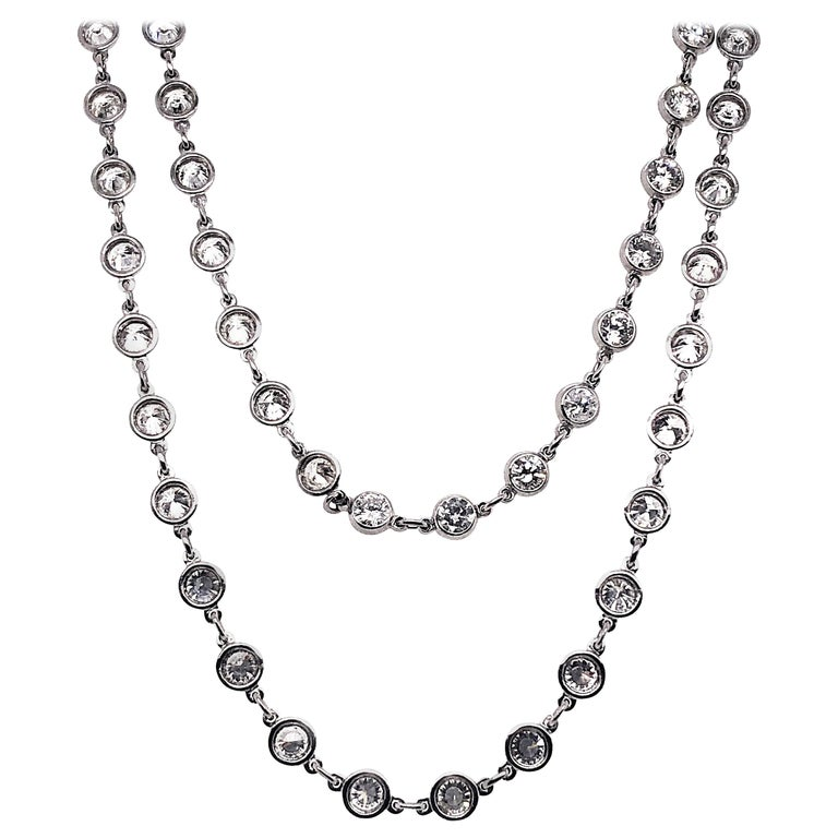 Modern Diamond and Platinum Chain Necklace, 7.77 Carat For Sale