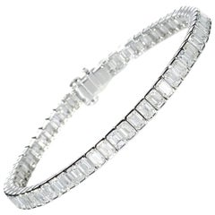 Modern Diamond and Platinum Line Bracelet