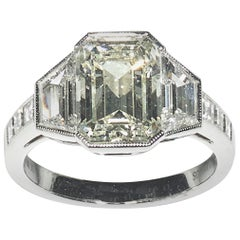 Modern Diamond and Platinum Ring, 3.62 Carat