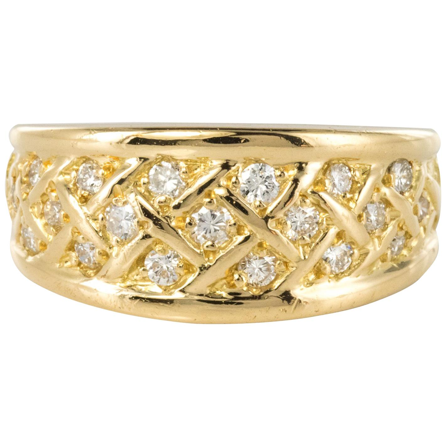 Gold Diamond Braid Bangle Modern And Yellow Ring ZiukTOXP