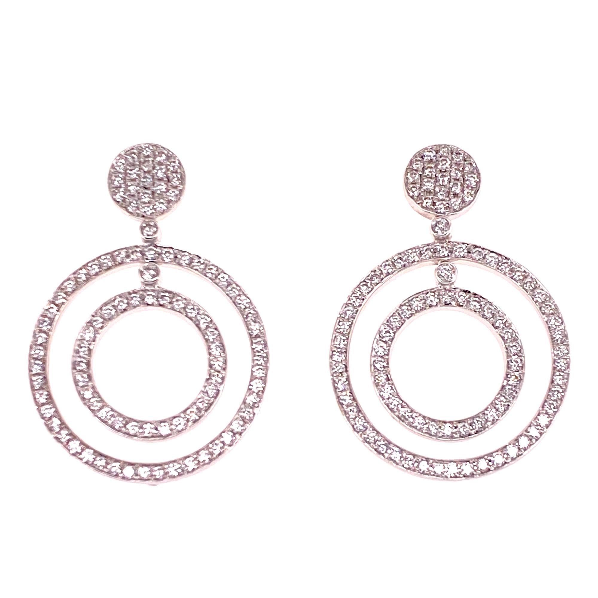 Modern Diamond Circle Drop Dangle 18 Karat White Gold Earrings