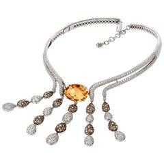 Modern Diamond Citrine 18 Karat Gold Dangle Drop Choker Necklace