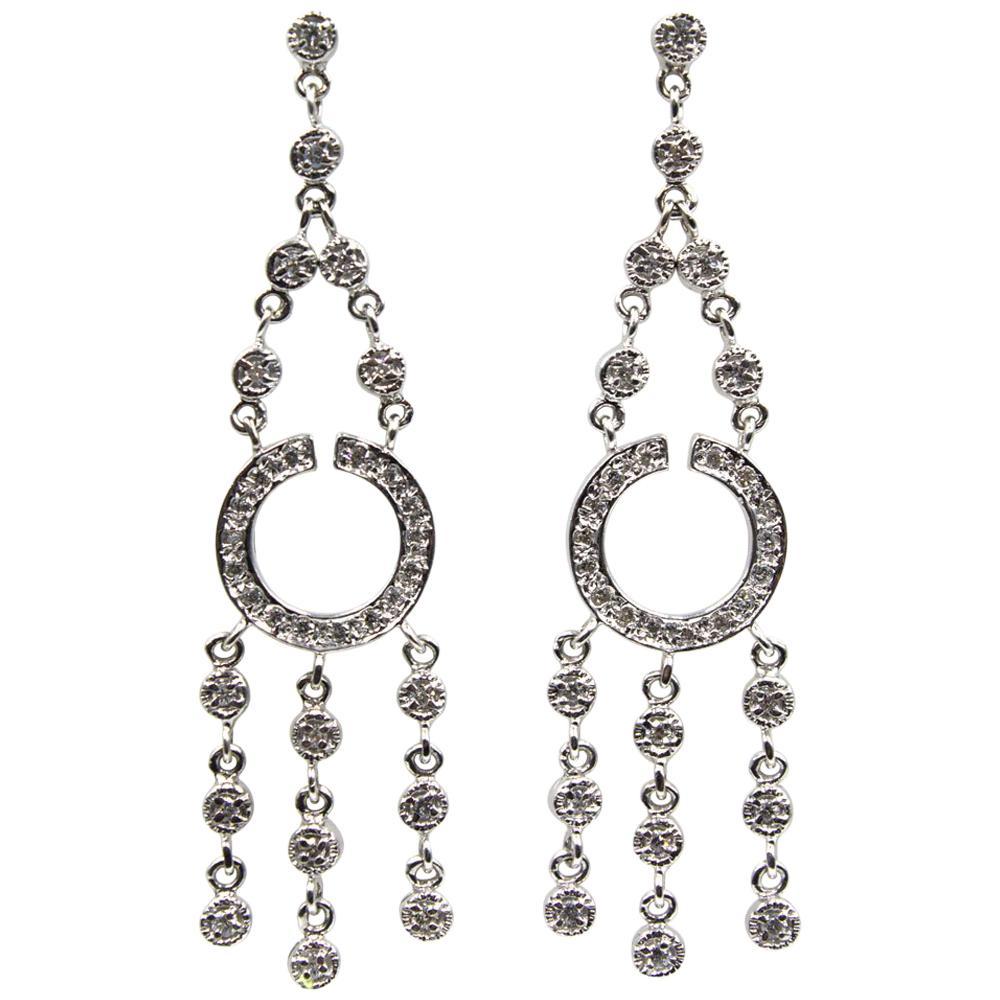 Modern Diamond Dangle 14 Karat White Gold Chandelier Drop Earrings
