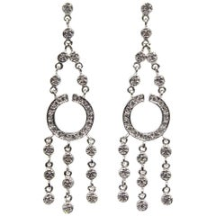 Modern Diamond Dangle 14 Karat White Gold Earrings