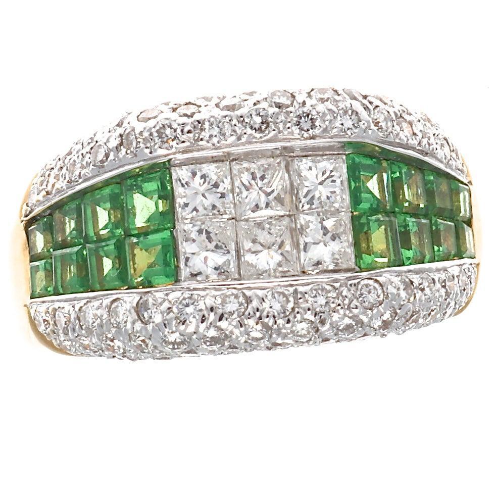 Modern Diamond Demantoid Garnet Gold Ring