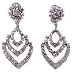 Modern Diamond Drop Dangle 18 Karat White Gold Earrings 9.0 Carat Total Weight