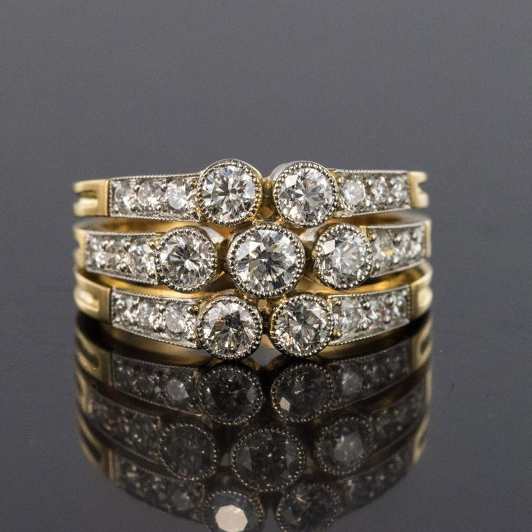 Modern Diamond Gold 3-Band Ring For Sale 8