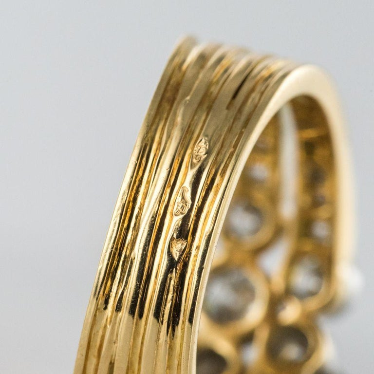 Modern Diamond Gold 3-Band Ring For Sale 10