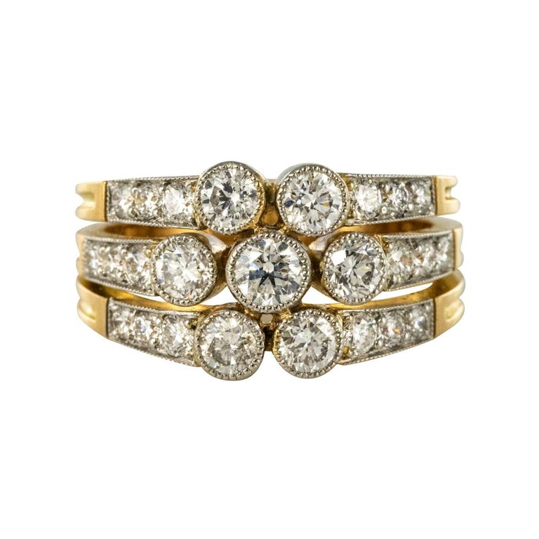 Modern Diamond Gold 3-Band Ring For Sale