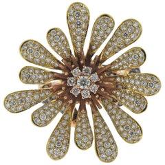 Modern Diamond Gold Flower Cocktail Ring