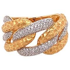Modern Diamond Gold Link Ring-Band