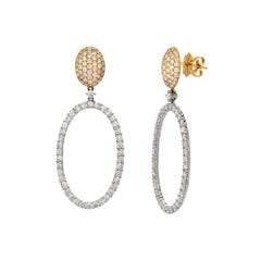 Modern Diamond Hoop Gold Drop Earrings