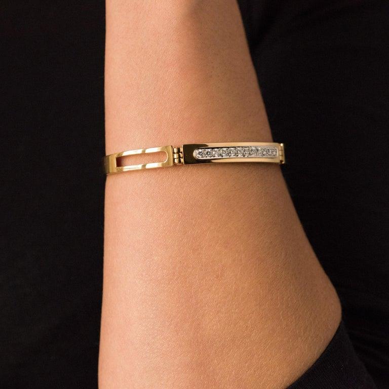 Women's Modern Diamond Line Articulated Bangle Bracelet For Sale