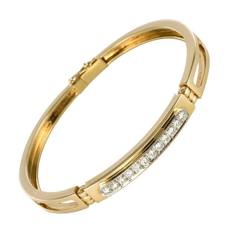 Modern Diamond Line Articulated Bangle Bracelet For Sale